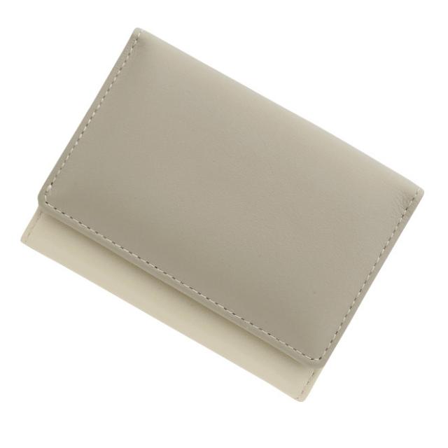 c01f8228762a 極小財布 スムース/牛革 バイカラー ライトグレー×アイボリー BECKER(ベッカー)日本製 ミニ財布/本革/三つ折り/小さい/レディース/メンズ/ 送料無料