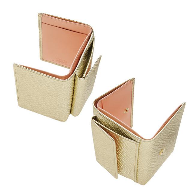 b966a26b8d68 BECKER(ベッカー)極小財布 スネーク型押し メタリックゴールド- 財布の ...