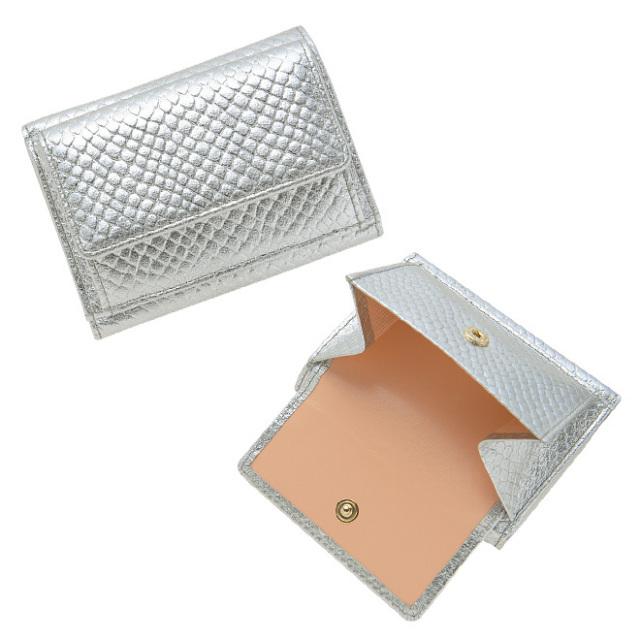e84d90552f13 BECKER(ベッカー)極小財布 スネーク型押し メタリックシルバー - 財布 ...