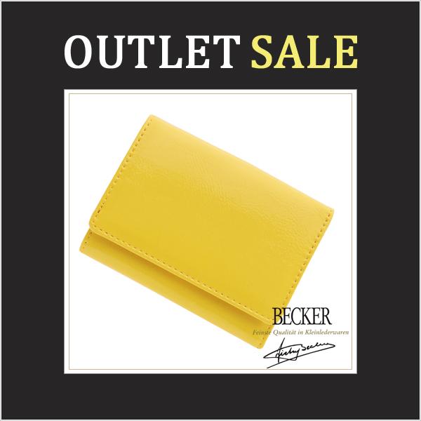 【アウトレット】極小財布 エナメル(イエロー)ベーシック型小銭入れ BECKER(ベッカー)日本製