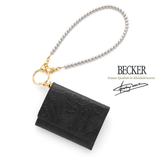 【シンプルカスタムセット】 極小財布スムースペイズリーブラック×パールショートチェーンシルバー