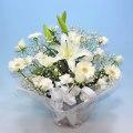 NO.28 バラと百合のオーソドックスアレンジ(ホワイト)