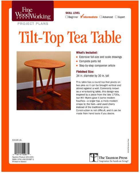 <ご予約のお客様専用>Fine Woodworking's Tilt-Top Tea Table Plan  January 3, 2019