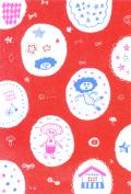 たけのこスカーフポストカード(もようもりもり・赤)