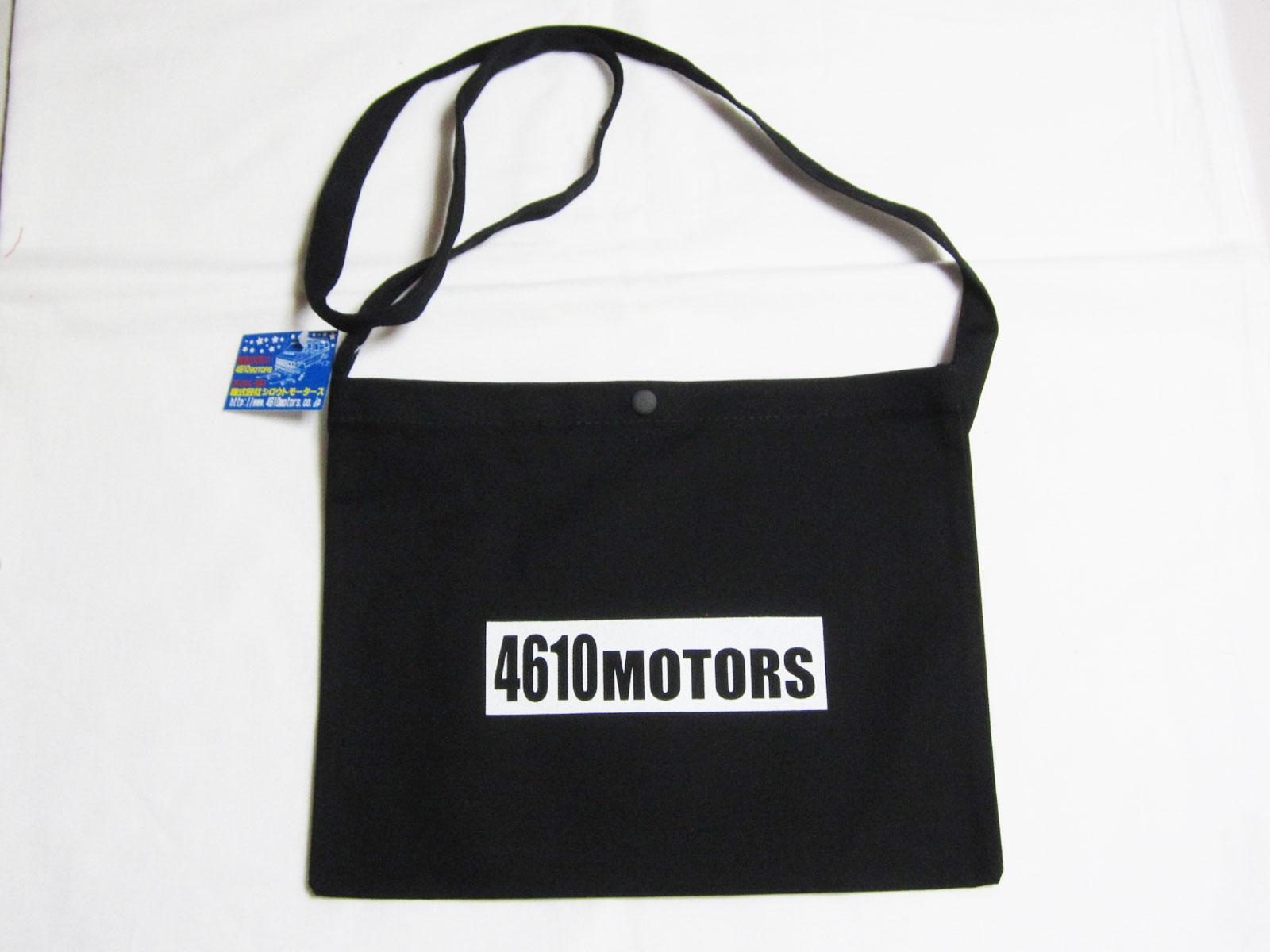 サコッシュ BLACK 4610MOTORS シロウトモータース肩掛けキャンバスバッグ 黒