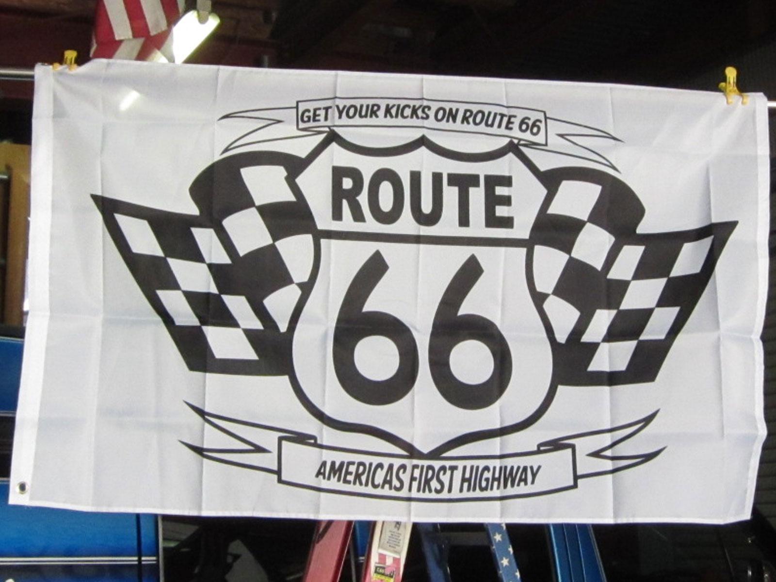 R66 CHECKER FLAG 3x5ft ★ルート66 チェッカー フラッグ [並行輸入品] シカゴ - サンタモニカ 国道66号線 マザーロード
