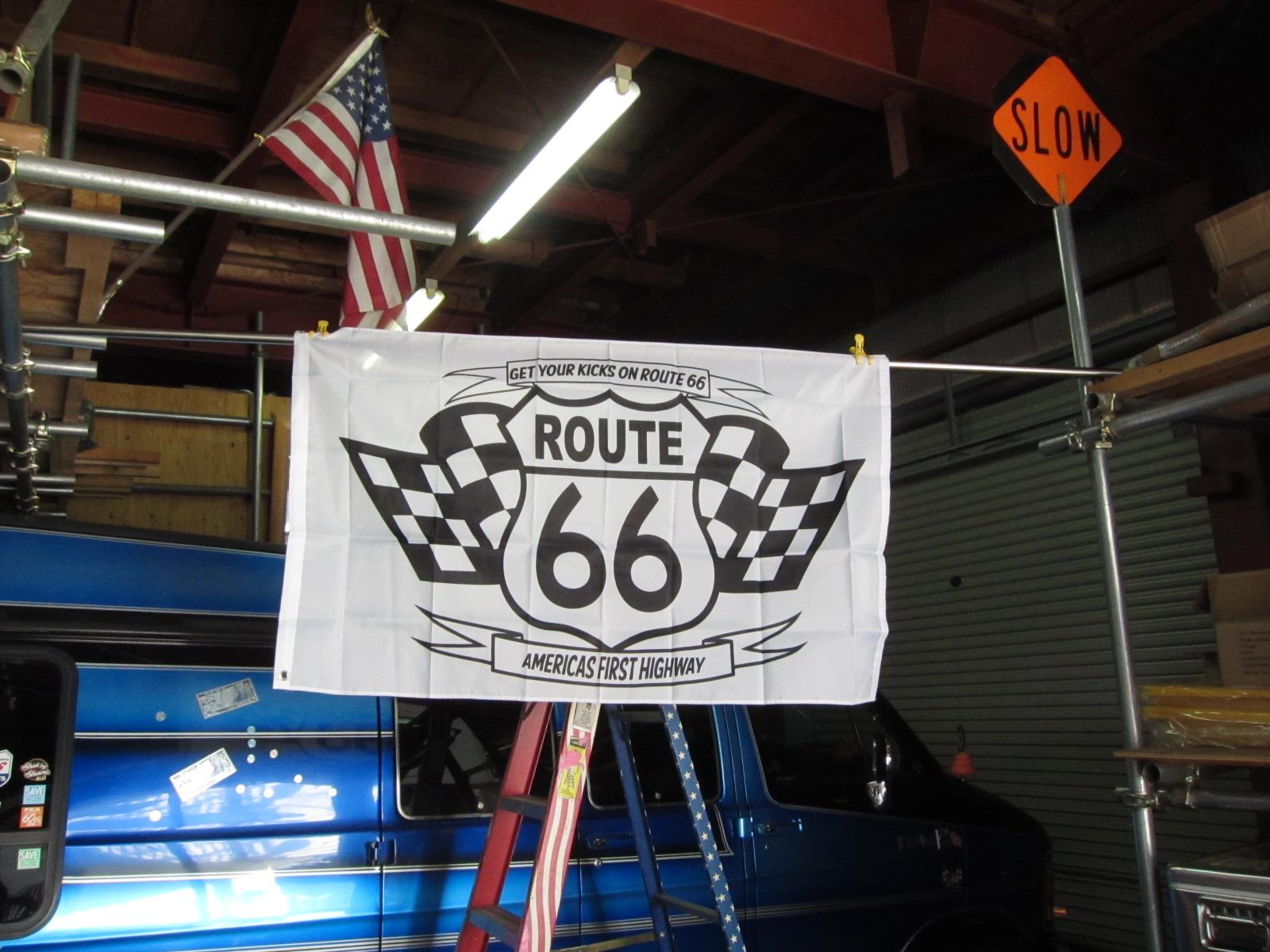 R66 CHECKER FLAG 3x5ft ★ルート66 チェッカー フラッグ [並行輸入品]