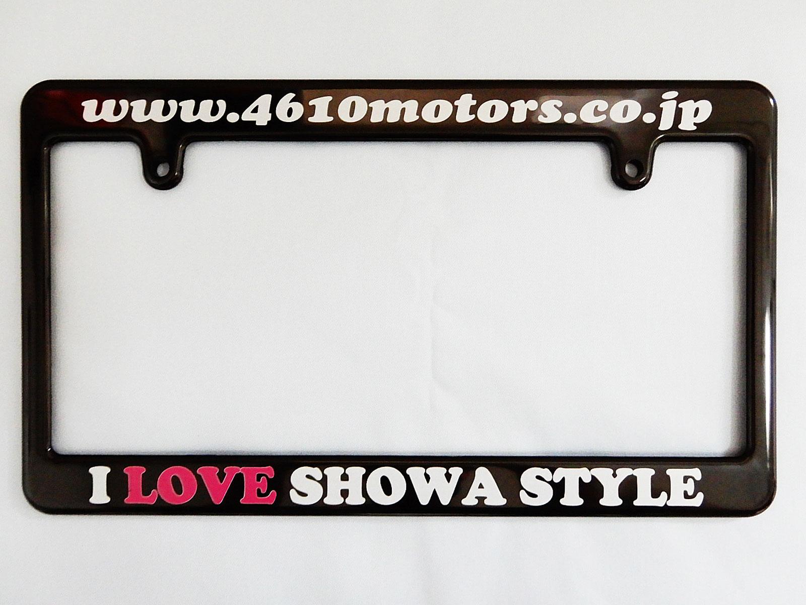 I LOVE SHOWA STYLE  WWW.4610MOTORS  Black License Frame Wide ☆ブラック ライセンスフレーム ワイド 日本ナンバープレートサイズ 幅広タイプ 4610MOTORS
