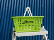 ショッピングバスケット OFF SHORE Sサイズ 1個 マイバスケット スーパーバスケット 収納 積み重ね 買い物かご プラスチック スーパーマーケット 洗濯物 車内 トランク収納 NEWPORT BEACH CALIFORNIA サーフィン オフショア