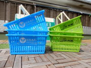 超ぉ~お得な6個セット!ショッピングバスケット U.S.A.F. とOFF SHORE Lサイズ 各3個 合計6個! マイバスケット スーパーバスケット 収納 積み重ね 買い物かご プラスチック スーパーマーケット 洗濯物 車内 トランク収納 U.S. AIR FORCE USエアフォース