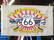 R66 OLDCAR FLAG 3x5ft ★ルート66 オールドカー フラッグ [並行輸入品] シカゴ - サンタモニカ 国道66号線 マザーロード