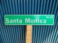アメリカ ストリートサイン Santa Monica  BLVD レプリカサインプレート USA LA カリフォルニア 通り名 住所表記 標識