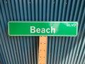 アメリカ ストリートサイン Beach BLVD レプリカサインプレート USA LA カリフォルニア 通り名 住所表記 標識
