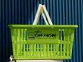ショッピングバスケット OFF SHORE Lサイズ 1個 マイバスケット スーパーバスケット 収納 積み重ね 買い物かご プラスチック スーパーマーケット 洗濯物 車内 トランク収納 NEWPORT BEACH CALIFORNIA サーフィン オフショア