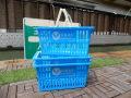 お得な3個セット!ショッピングバスケット U.S.A.F. Lサイズ マイバスケット スーパーバスケット 収納 積み重ね 買い物かご プラスチック スーパーマーケット 洗濯物 車内 トランク収納 U.S. AIR FORCE USエアフォース