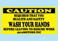 仕事前には手を洗いましょう!注意ステッカー シロウトモータース 4610MOTORS シール