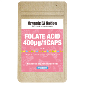 【Organic Nation 100%天然素材抽出・メール便商品】 Folate Acid 葉酸 30カプセル ※2019年4月より内容変更あり(レモンからホウレンソウ)