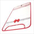 【日本製】【女の子向け】 透明・防水 ランドセルカバー リボン付 反射テープ付 レッド
