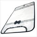【日本製】【女の子向け】 透明・防水 ランドセルカバー リボン付 反射テープ付 ドットブラック(黒)