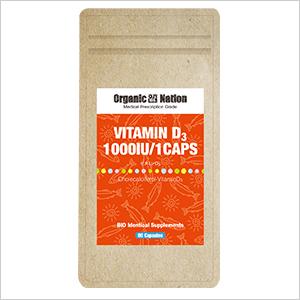 【Organic Nation 100%天然素材抽出】 ビタミンD3 60カプセル コレカルシフェロール