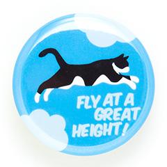 缶バッチ 猫 FLY! - あおぞら ネコ ねこ 猫柄 雑貨 SCOPY スコーピー