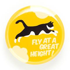 缶バッチ 猫 FLY! - ゆうひ ネコ ねこ 猫柄 雑貨 SCOPY スコーピー