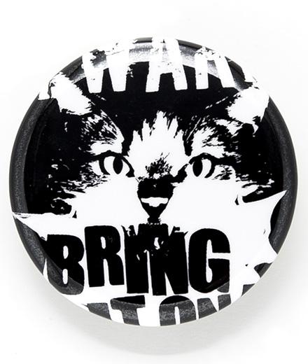 缶バッチ 猫 BEWARE OF CAT ネコ ねこ 猫柄 雑貨 SCOPY スコーピー