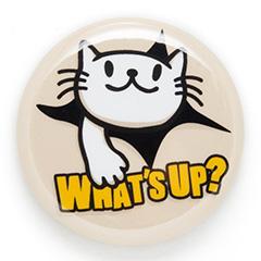 缶バッチ 猫 WHAT'S UP? ネコ ねこ 猫柄 雑貨 SCOPY スコーピー