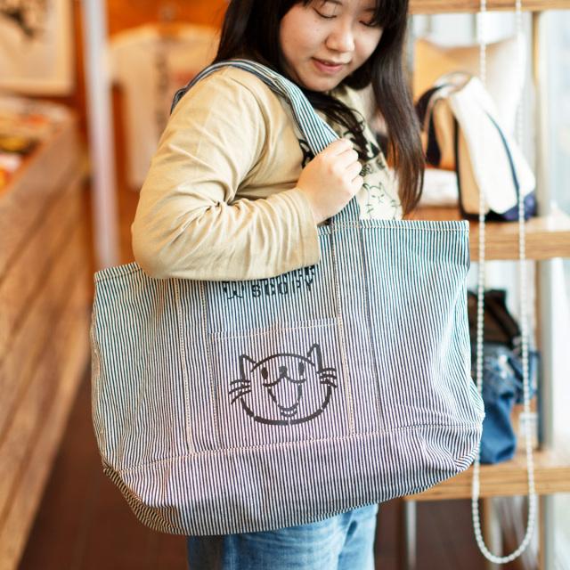 クラフトビッグトート 猫 CAT LOVER ( ヒッコリーストライプ ) ネコ ねこ 猫柄 雑貨 大きい キャンバス バッグ SCOPY スコーピー