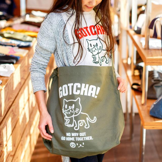 クラフトショルダーバッグ 猫 GOTCHA ( オリーブ ) ネコ ねこ 猫柄 雑貨 大きい キャンバス バッグ SCOPY スコーピー