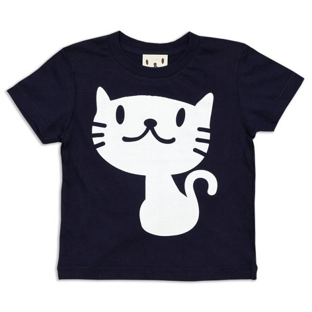 キッズ Tシャツ 半袖 猫 しろねこさん - ネイビー ネコ ねこ 猫柄 雑貨 SCOPY スコーピー