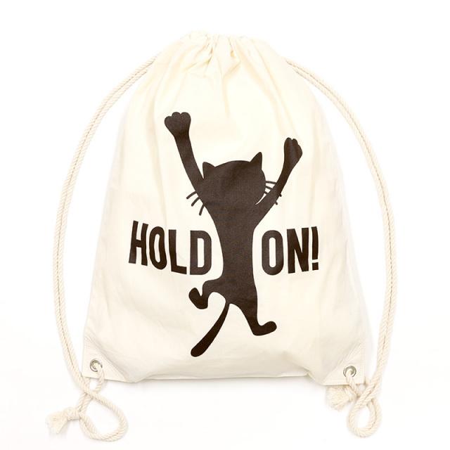 ナップサック 猫 HOLD ON! - ナチュラル バッグ 巾着 ネコ ねこ 猫柄 雑貨 ナップサック SCOPY スコーピー