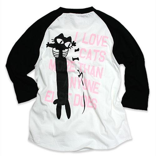 七分袖 Tシャツ メンズ レディース 猫 LOVE CAT - PK Ver - ブラック × ホワイト ネコ ねこ 猫柄 雑貨 SCOPY スコーピー