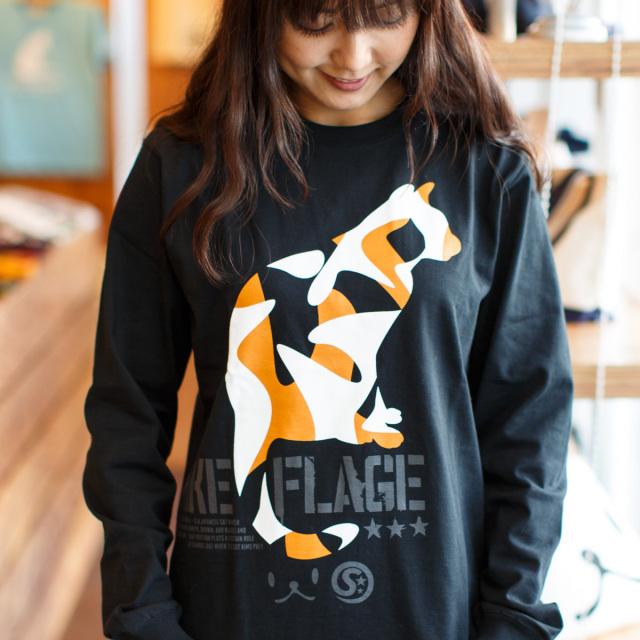 長袖 Tシャツ ロンT メンズ レディース 猫 MIKE-FLAGE - ブラック ネコ ねこ 猫柄 雑貨 SCOPY スコーピー