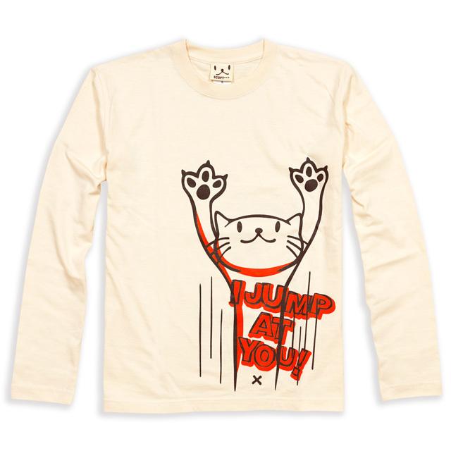 長袖 Tシャツ ロンT メンズ レディース 猫 JUMP - ナチュラル ネコ ねこ 猫柄 雑貨 SCOPY スコーピー