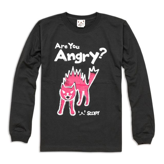 長袖 Tシャツ ロンT メンズ レディース 猫 Are youangry? - スミ ネコ ねこ 猫柄 雑貨 SCOPY スコーピー