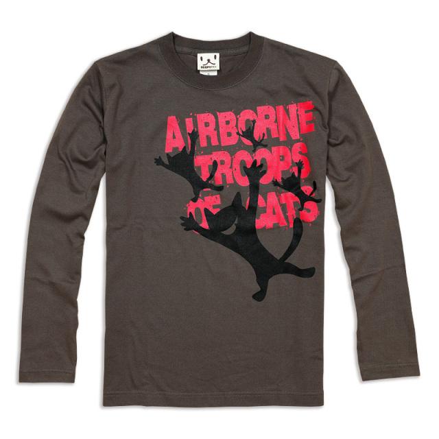 長袖 Tシャツ ロンT メンズ レディース 猫 AIRBORNE TROOPS - チャコール ネコ ねこ 猫柄 雑貨 SCOPY スコーピー