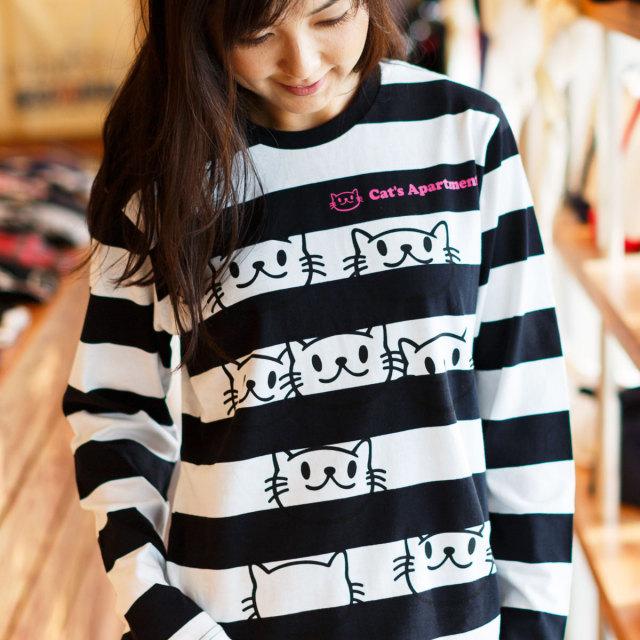 長袖 Tシャツ ロンT メンズ レディース 猫 Cat's Apartment - ブラック x ホワイト ネコ ねこ 猫柄 雑貨 - 長袖 ボーダー Tシャツ SCOPY スコーピー
