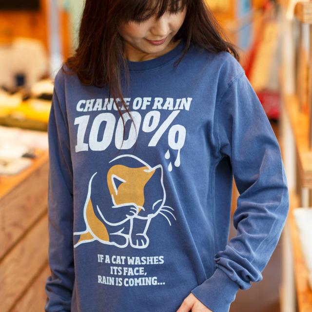 長袖 Tシャツ ロンT メンズ レディース 猫 RAIN 100% - ヴィンテージネイビー ネコ ねこ 猫柄 雑貨 SCOPY スコーピー