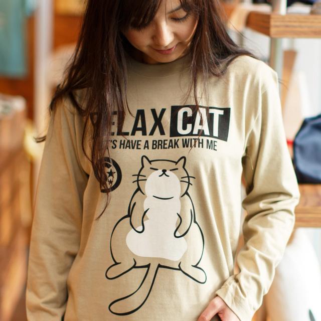 長袖 Tシャツ ロンT メンズ レディース 猫 RELAX CAT - サンドカーキ ネコ ねこ 猫柄 雑貨 SCOPY スコーピー