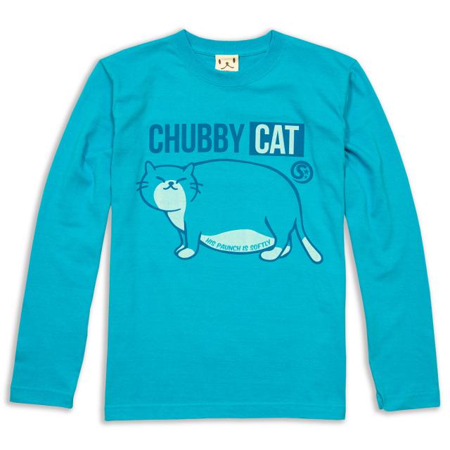 長袖 Tシャツ ロンT メンズ レディース 猫 CHUBBY CAT - ターコイズブルー ネコ ねこ 猫柄 雑貨 SCOPY スコーピー