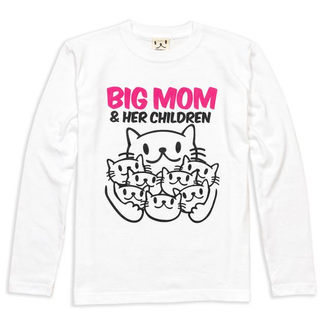長袖 Tシャツ ロンT メンズ レディース 猫 BIG MOM - ホワイト ネコ ねこ 猫柄 雑貨 SCOPY スコーピー