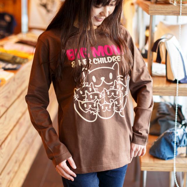 長袖 Tシャツ ロンT メンズ レディース 猫 BIG MOM - チョコレート ネコ ねこ 猫柄 雑貨 SCOPY スコーピー
