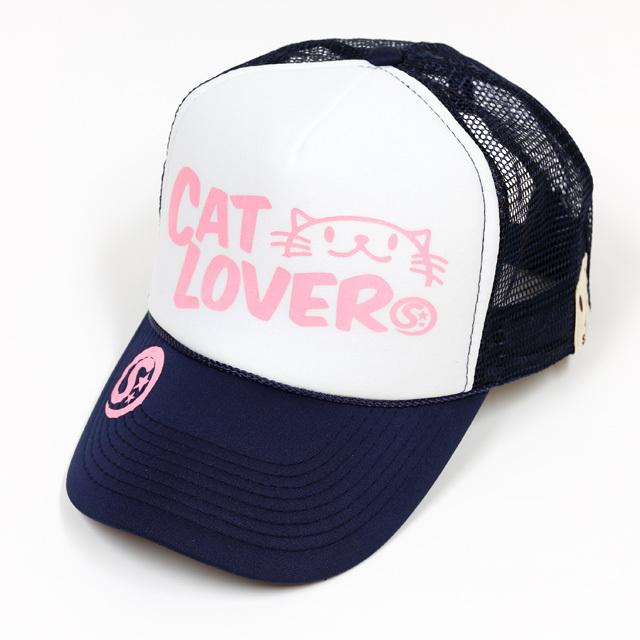 メッシュキャップ 猫 CAT LOVER ネイビー ネコ ねこ 猫柄 雑貨 - キャップ SCOPY スコーピー