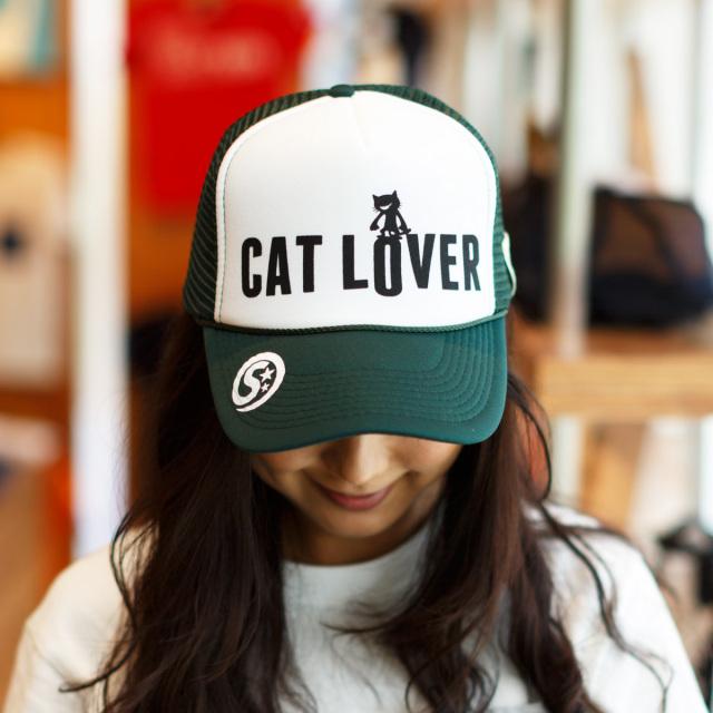 メッシュキャップ 猫 STEP ON ダークグリーン ネコ ねこ 猫柄 雑貨 - キャップ SCOPY スコーピー