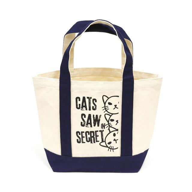 トートバッグ ミニトートバッグ メンズ レディース 猫 WATCHCAT - ネイビー ネコ ねこ 猫柄 雑貨 キャンバス SCOPY スコーピー