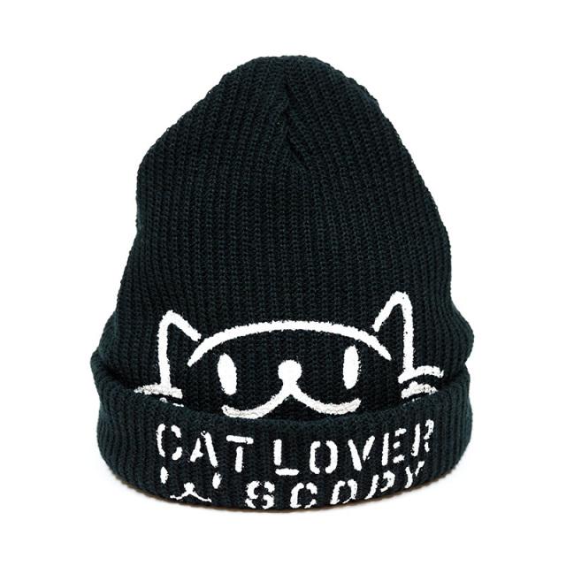 ニットキャップ 猫 CAT LOVER ブラック ネコ ねこ 猫柄 雑貨 - キャップ ビーニー SCOPY スコーピー