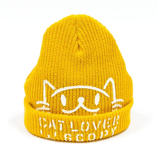 ニットキャップ 猫 CAT LOVER マスタード ネコ ねこ 猫柄 雑貨 - キャップ ビーニー SCOPY スコーピー