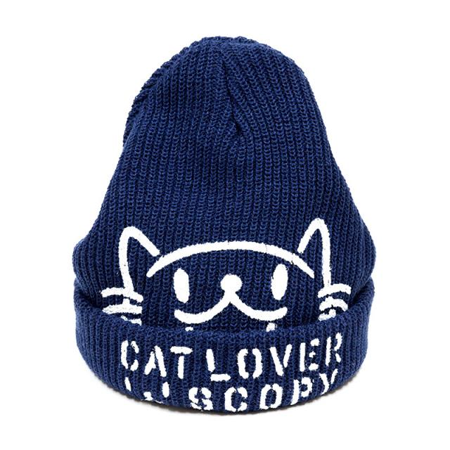 ニットキャップ 猫 CAT LOVER インディゴ ネコ ねこ 猫柄 雑貨 - キャップ ビーニー SCOPY スコーピー