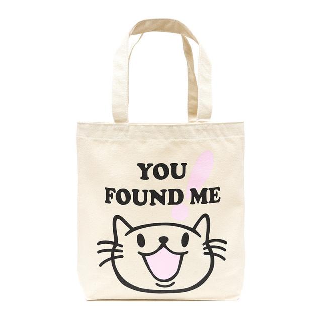 トートバッグ 猫 FOUND ME - ナチュラル ネコ ねこ 猫柄 雑貨 キャンバス バッグ SCOPY スコーピー